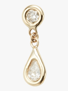 Round And Teardrop Diamond Drop Stud