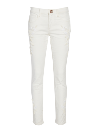 Embroidered Stretch Denim Pants
