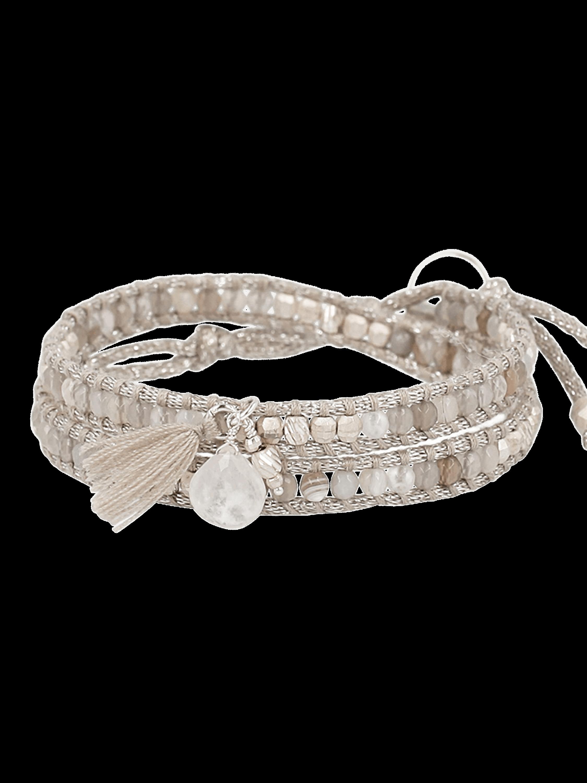 Grey Botswana Agate Mix Double Wrap Bracelet
