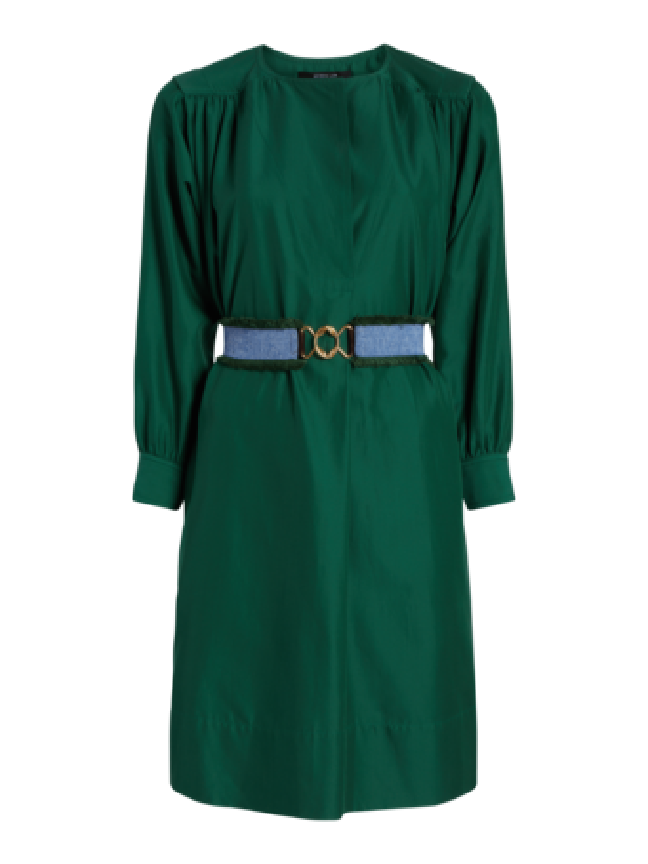 Belted Long Sleeve Shirred Dress