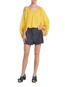 Balloon Blouse With Drawstring Detail