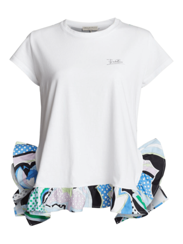 Shirt with Printed Ruffle Bottom