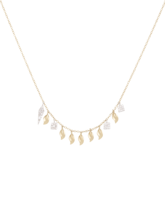 Diamond and Leaf Charm Necklace