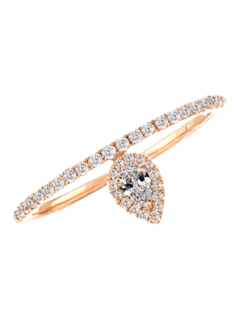 Rose Gold Pave Midi Ring With Teardrop Halo