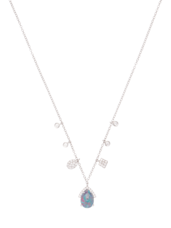 Triplet Opal and Diamond Necklace