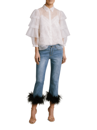 Tasha Cropped Feather Hem Jeans