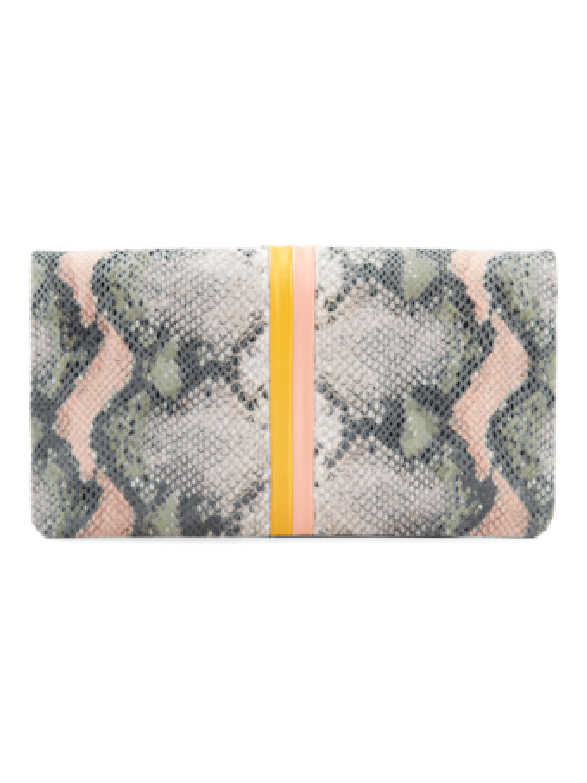Foldover Clutch with Inlaid Stripe Suprême
