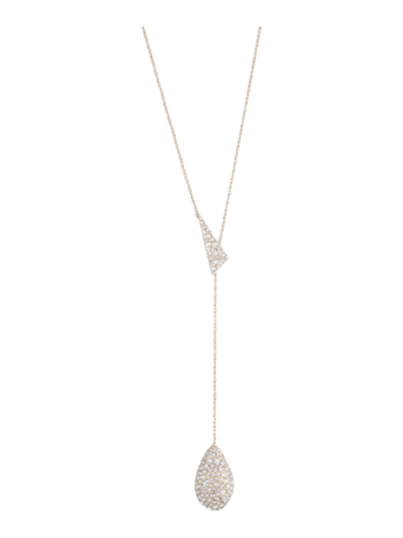 Crystal Encrusted Drop Lariat Necklace