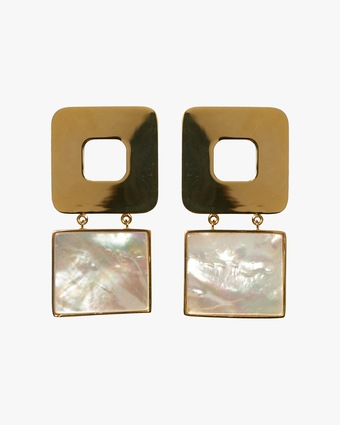 Geo Pearl Drop Earrings