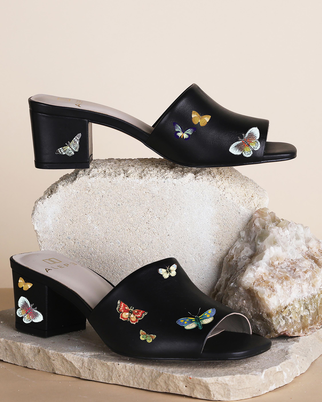 Alepel Butterflies Peep-Toe Mule 2