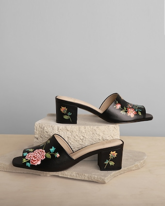 Alepel English Porcelain Peep-Toe Mule 2