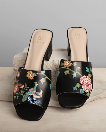 English Porcelain Peep-Toe Mule