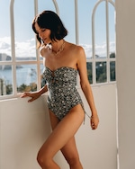 Peony Ruched Strapless One-Piece Swimsuit 4