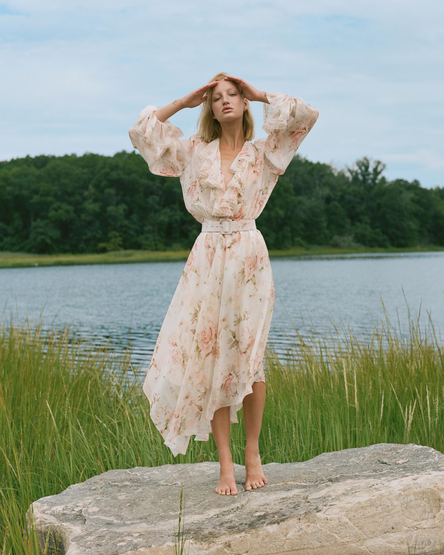 Divine Heritage V-Neck Asymmetrical Midi Dress 2