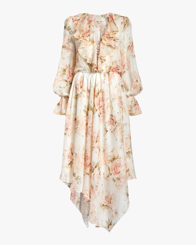 Divine Heritage V-Neck Asymmetrical Midi Dress 1