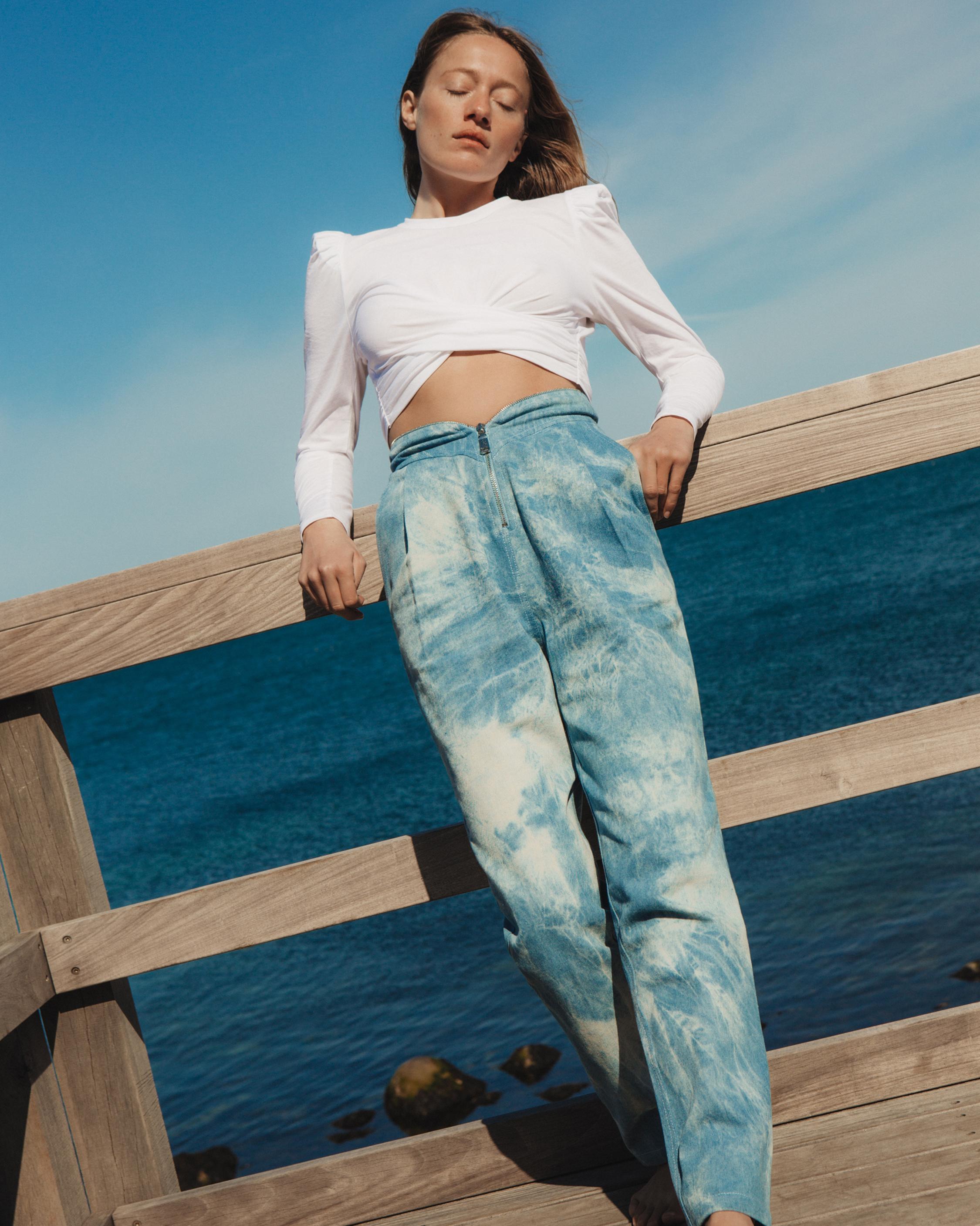Divine Heritage Sweetheart-Waist Pleated Jeans 3