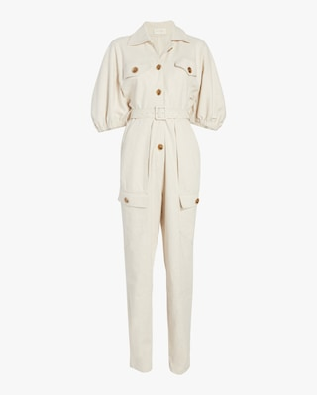 Divine Heritage Button-Up Belted Jumpsuit 1