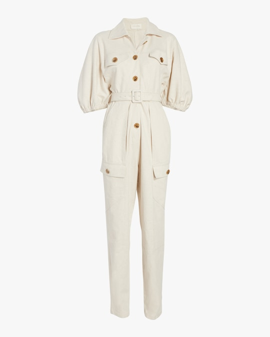 Divine Heritage Button-Up Belted Jumpsuit 0