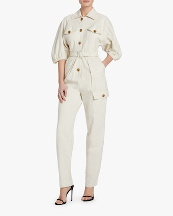 Divine Heritage Button-Up Belted Jumpsuit 2