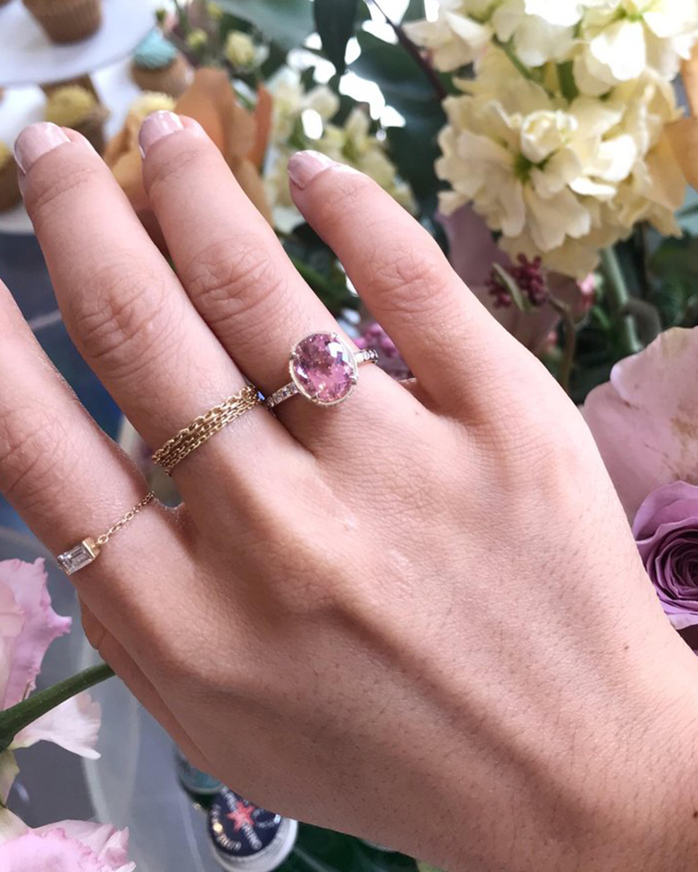 Yi Collection Pink Tourmaline Diamond Halo Ring 2