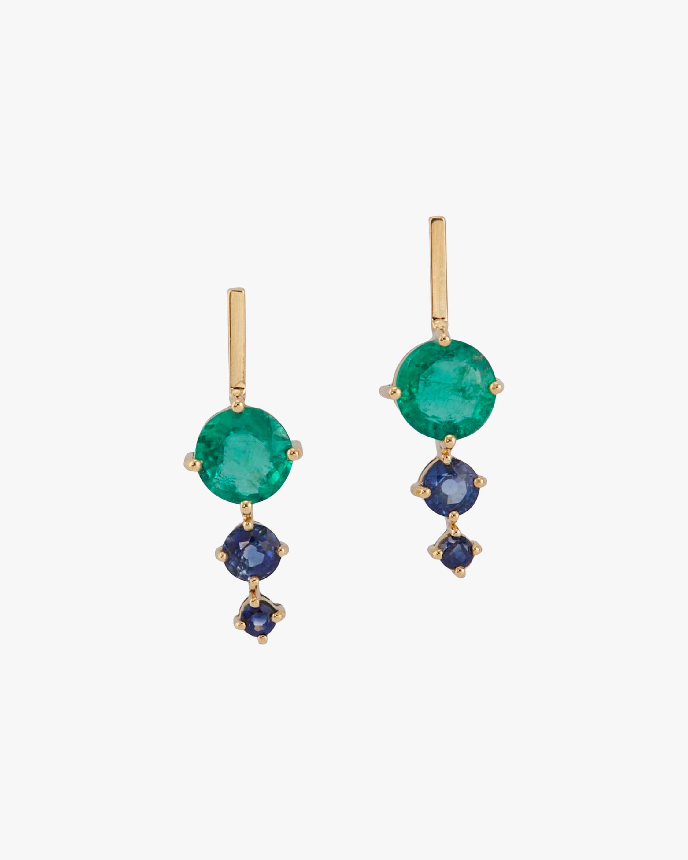 Emerald & Sapphire Dot Earrings