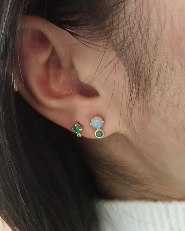 Yi Collection Opal & Emerald Dot Stud Earrings 2