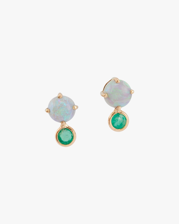 Opal & Emerald Dot Stud Earrings