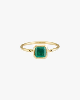 Emerald Classic Button Ring