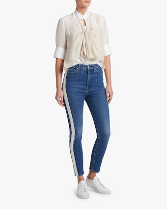 High-Waist Side-Stripe Jeans