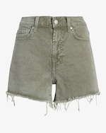 7 For All Mankind High-Waist Frayed Shorts 0