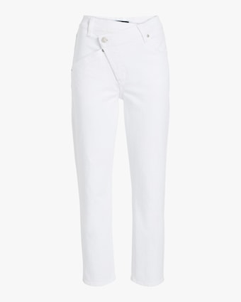 Asymmetric High Waist Cropped Straight Jeans
