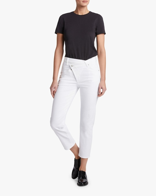 7 For All Mankind Asymmetric High Waist Cropped Straight Jeans 1