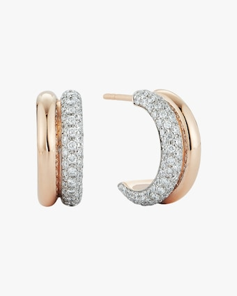Diamond Tubular Huggie Earrings