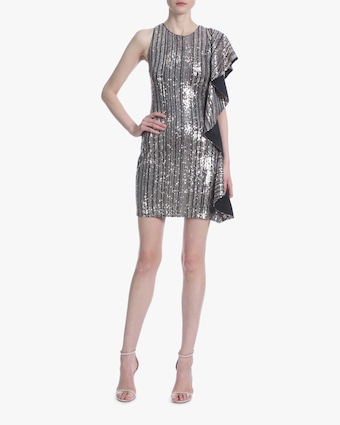 Ruffle-Sleeve Sequin Mini Dress
