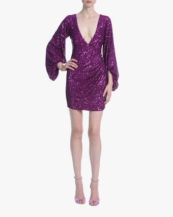 Puffed-Sleeve Sequin Mini Dress