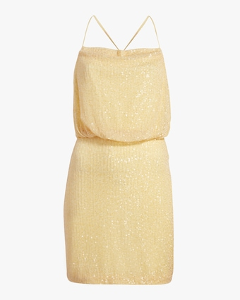 Cowl Neck Sequin Cocktail Dress