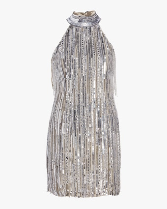 Beaded Fringe Halter Dress