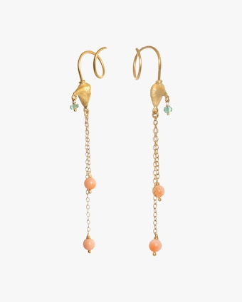Lene Vibe Coral & Sapphire Chain Drop Earrings 2