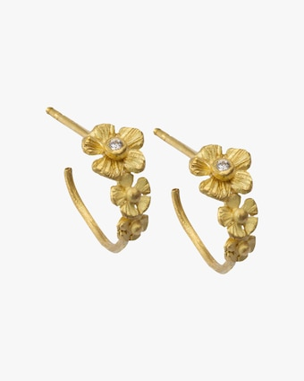 Lene Vibe Flower Diamond Hoop Earrings 2