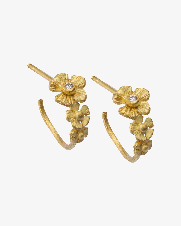 Flower Diamond Hoop Earrings