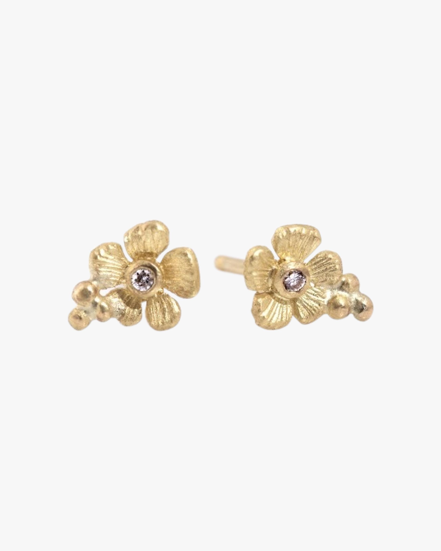 Floral Diamond Stud Earrings