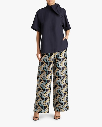 Wide-Leg Cuffed Trousers