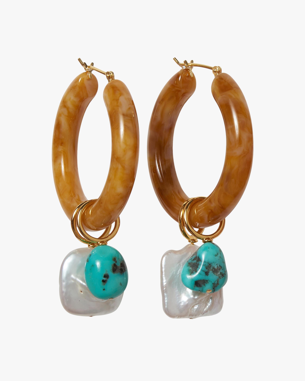 Lizzie Fortunato Spritz Turquoise Hoop Earrings 2