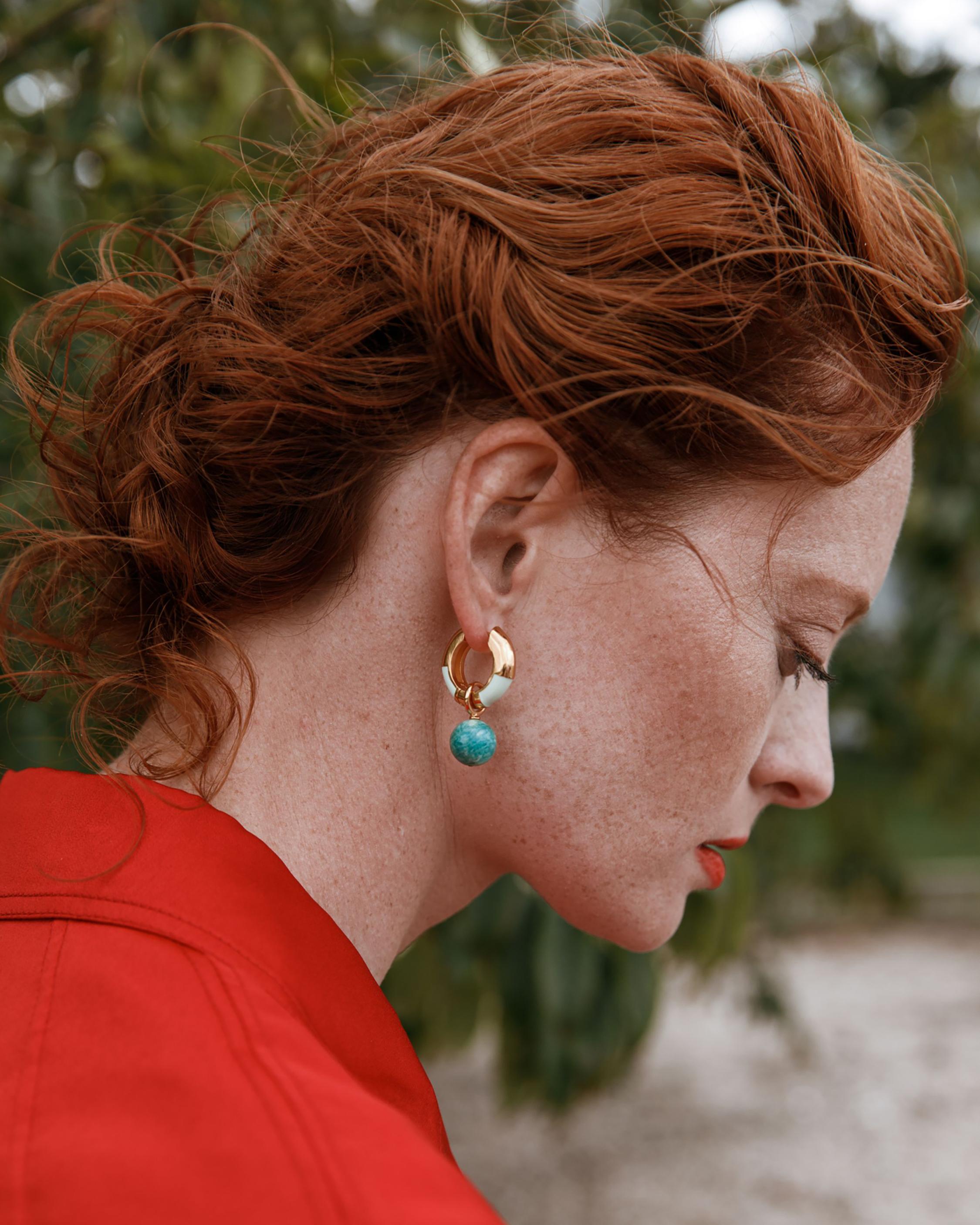 Life Saver Amazonite Hoop Earrings