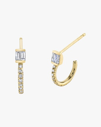 Pavé Baguette Huggie Earrings
