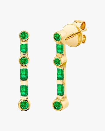 Emerald Stick Stud Earrings