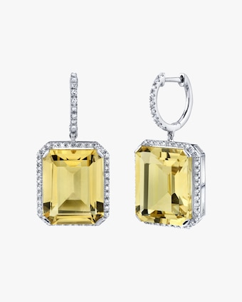 Yellow Topaz Portrait Drop Earrings