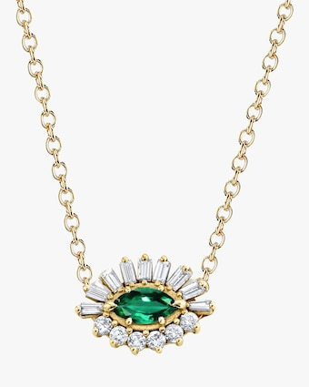 Emerald Evil Eye Pendant Necklace