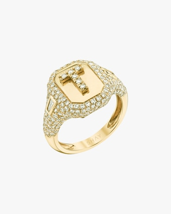 Shay Jewelry Pavé Initial Pinky Ring 2