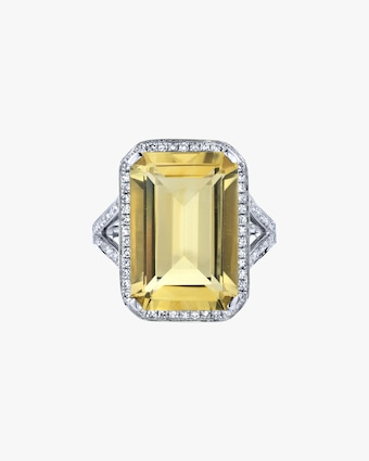 Yellow Topaz Portrait Ring